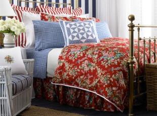 简单的奢华 贝勒欧式惊艳正红花卉印花被套,床品,