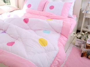【Asa room特价】韩国代购床品公主粉色圆点纯棉被子四件套c784-p,床品,