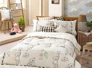 韩国进口可爱小熊纯棉短绒儿童被子四件套/床上用品 床品套件,床品,
