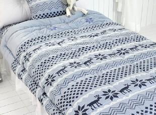 【Asa room】韩国进口代购床品 高档短绒被子三件套深蓝色 c739-n,床品,