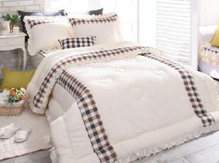 【特价直降100】韩国进口代购床品 田园棕色格子纹四件套c025-br,床品,