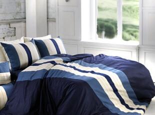 『韩国进口家居』T706 蔚蓝海军风格精致居家床品四件套,床品,