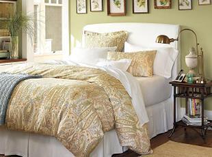 简单的奢华 美国代购包邮 经典欧式米色色调佩斯利旋花有机棉被套,床品,