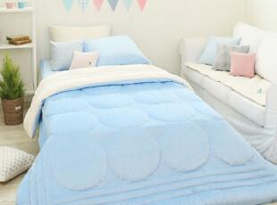 【Asa room】韩国进口代购床品 蓝色短绒被子两面用四件套 c724-b,床品,
