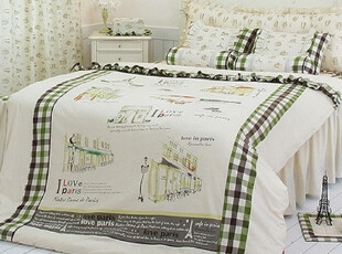 【Asa room】韩国进口代购床品 田园绿色格子纹被套四件套c489-bt,床品,