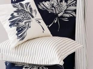 简单的奢华 现货 佩琪深蓝白花纯棉印花被套枕套3件套  限时9折,床品,