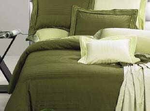 美国全棉贡缎床品纯棉色织提花床单式床上用品四件套 两色可选,床品,