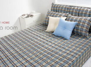 【Asa room】韩国进口床品 时尚纯棉蓝色格子纹代购床罩 dc129,床品,