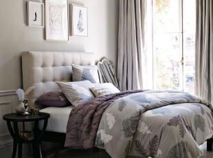 美国代购正品Westelm灰色羽毛印花床罩三件套 纯棉床品,床品,