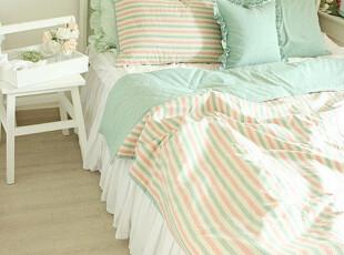 「韩居屋」绿茶条纹 单人.双人床品套件..韩国进口床上用品套件,床品,