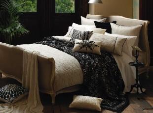 澳洲精品代购KAS Australia宁静的夜素色精致提花被套枕套三件套,床品,