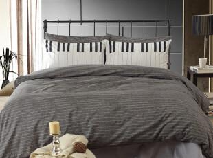 UM潮流床品床上用品时尚创意亚麻纯棉四件套纯色条纹,床品,