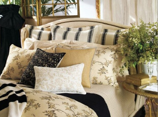 简单的奢华  佩琪米色细条纹纯棉床单床笠枕套4套件 限时9折,床品,