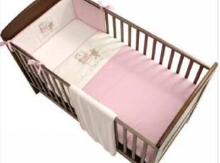 BABIESRUS~ 粉色小熊  贴布绣婴儿床半床围、防撞护栏,床品,