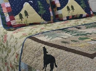 外贸原单美式乡村手工绗缝被床盖贴布绣拼布床品三件套,床品,