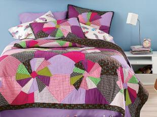 圆舞~手工拼布 绗缝被三件套、床盖 3.2KG,床品,