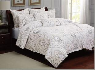 典雅欧式 外贸原单 精品白色刺绣纯棉绗缝空调被 美式床盖 三件套,床品,