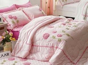 韩国官网代购 优雅立体花朵超细纤维床品三件套/床上用品 粉色,床品,