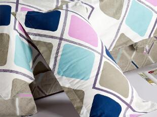 清雅居高质全棉活性印花单人枕套 条纹格子枕芯套 枕头套一对特价,床品,