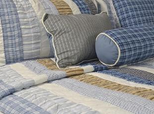 外贸原单 美式拼布条纹绗缝被 床盖 空调被 美式床上用品 六件套,床品,