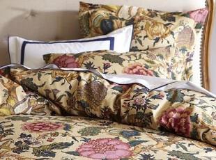简单的奢华 限时9折 古典花鸟锦绣生命之树棉麻被套枕套三件套,床品,