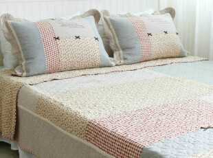 花木 日式zakka风格 全棉纯棉拼布绣花 床盖绗缝被三件套 蝴蝶结,床品,