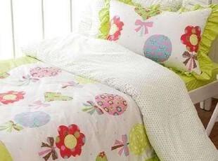 【韩国定做床品】X075 可爱花花绿绿儿童房床品套件,床品,