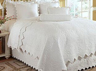 外贸原单 典雅欧式 绗缝被床盖 白色绣花波浪边 空调被床品三件套,床品,