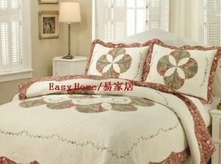 外贸 全棉拼布 绣花绗缝被套 床盖 两用被 刺绣波浪边 三件套,床品,