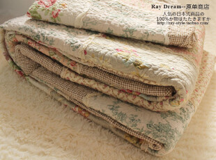 特 外贸●日式zakka风 拼布绗缝被 空调被 夏春秋多用被三件套,床品,