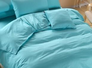 家纺床上用品 田园四件套全棉床单床笠1.51.8米 纯色素色夏日普兰,床品,