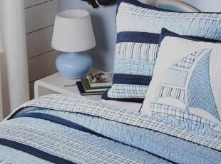 免费送枕套 外贸原单 英伦格子拼布纯棉绗缝被二件套 床盖/空调被,床品,