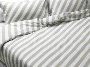夜家居  1.2米床灰白条纹全棉单人床品三件套【比利】特价,床品,