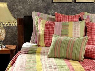 JF2774 外贸原单 精品绗缝 色织拼布 六件套,床品,