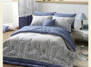 韩国进口代购蓝色男孩床品时尚全棉床上用品三件套,床品,