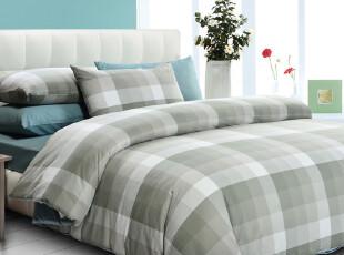 【新品】慢漫 纯棉格纹四件套 全棉床单式床笠式 床上用品,床品,