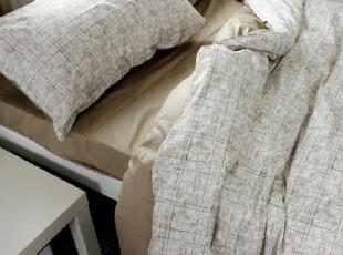 出口原单床品  全棉四件套 特价 宜家简约 AB纯色灰咖 200*230,床品,
