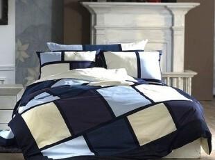 10.4【韩国床品】蓝调方格 40支纯棉床品套件*被套枕套床笠,床品,