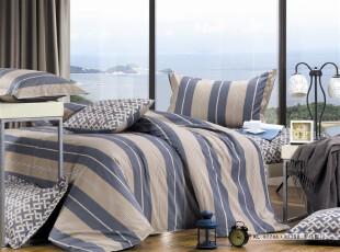 家纺四件套全棉男士条纹格子床上用品床单被套1.5m1.8米特价包邮,床品,
