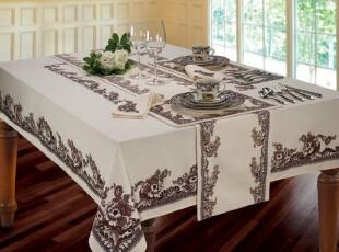 【纽约下城公园】林地风格棕色印花涤棉桌布(两种尺寸可选),床品,