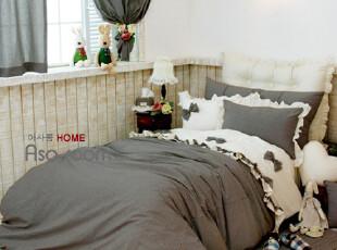 【Asa room】韩国进口床品 简约棕色田园格子纹被套四件套 c616-1,床品,