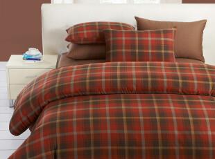 慢漫家纺 全棉格纹四件套 纯棉床笠式床单式 单人双人床 床上用品,床品,