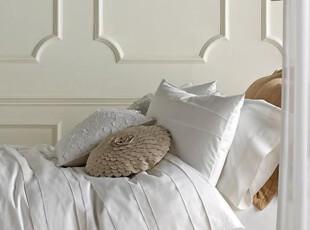 美国出口品牌BLISSliving家纺床上用品白色英伦全棉贡缎四件套,床品,