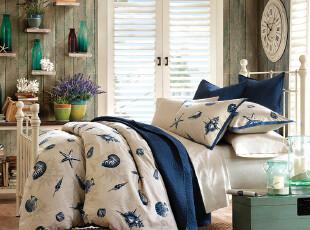 Harbor House 时尚套件 Shore Line 全棉印花被套三件套 蓝色,床品,