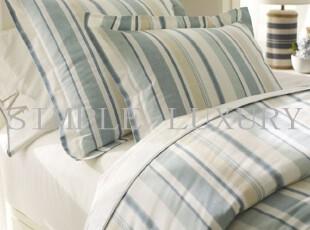 简单的奢华 现货 达尔清爽蓝色竖条纹设计亚麻棉被套   限时9折,床品,