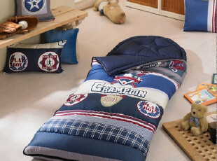 韩国床品|纯棉套装|蓝色儿童睡袋,床品,