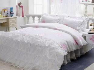 韩国官网代购 浪漫白玫瑰床品套件/韩国进口床上用品三件套 套件,床品,