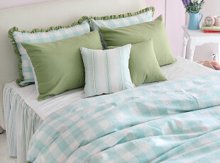 【Asa room】韩国进口代购床品 格子可定做被套枕套三件套 c850,床品,
