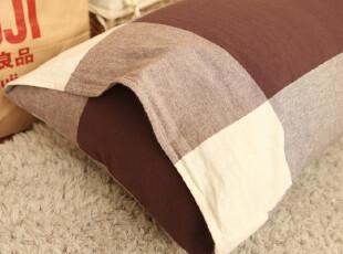 Castl GardenMUJI色织格水洗棉自然褶皱抱枕双人枕套 红格,床品,