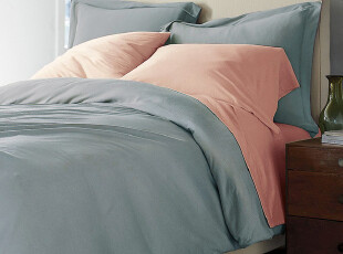 Rozene羅吉尼-800TC埃及棉高织贡缎纯色AB版撞色床品四件套-蓝粉,床品,